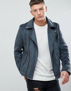 Read more about Asos faux suede biker jacket in grey - grey