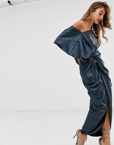 Read more about Asos edition drape asymmetric maxi dress in satin