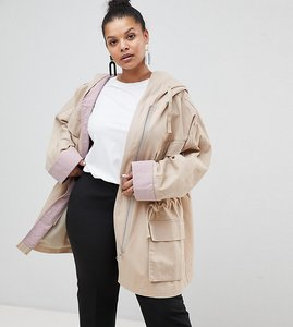 Read more about Asos curve waterfall parka with contrast liner - multi