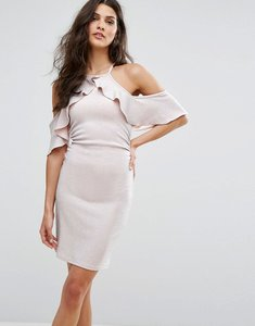Read more about Lipsy cold shoulder frill mini dress in glitter