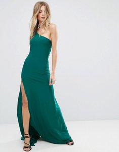 Read more about City goddess one shoulder maxi dress with side split - emerald green 18