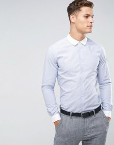 Read more about Asos smart stretch slim oxford stripe shirt in navy with contrast collar and cuffs - blue
