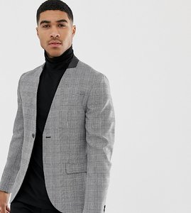Read more about Religion skinny collarless suit jacket in prince of wales check - grey