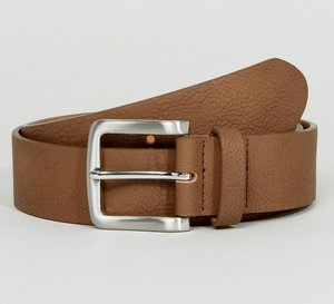 Read more about Asos faux leather wide belt in brown with burnished silver buckle - brown