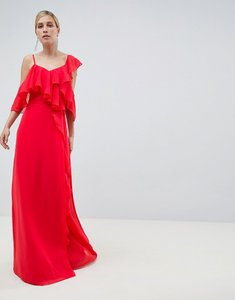 Read more about Asos design wrap maxi dress with ruffles - red