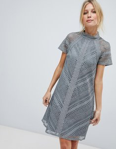 Read more about Little mistress all over lace mini shift dress - pewter