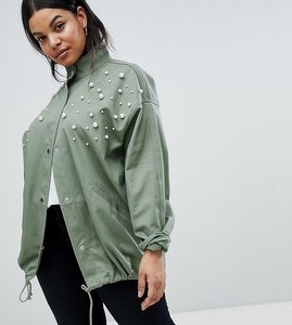 Read more about Asos design curve pearl jacket - khaki