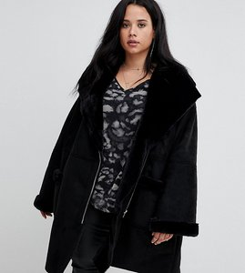 Read more about Religion plus oversized aviator jacket with faux fur collar - jet black