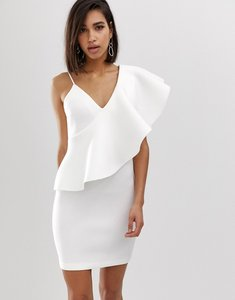 Read more about Lavish alice exaggerated one shoulder frill scuba mini dress in white