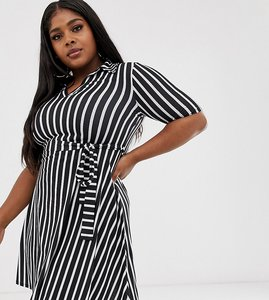 Read more about Pink clove mini shirt dress with tie waist in stripe print