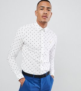 Read more about Farah oakton skinny smart shirt with paisley print in white - white