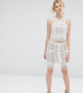 Read more about True decadence petite co-ord premium lace overlay mini skirt - multi