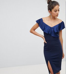 Read more about Silver bloom off shoulder frill midi dress with split - navy