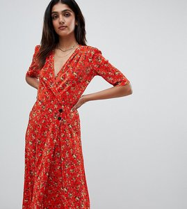 Read more about Asos design tall ditsy print plisse midi dress with button detail - multi