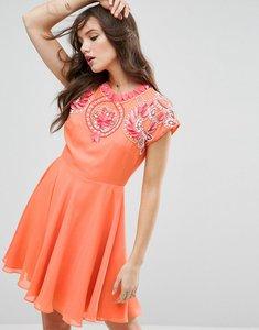Read more about Asos 3d flower embellished skater mini dress - coral