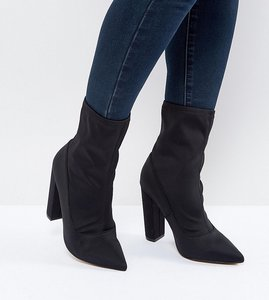 Read more about Asos basically wide fit pointed sock boots - black
