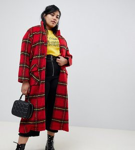 Read more about Glamorous curve longline coat in bright check - red check