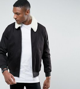 Read more about Asos tall cotton bomber jacket with borg collar in black - black