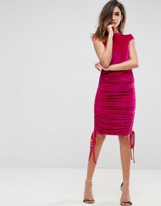 Read more about Asos high neck velvet midi dress with ruched side - dark pink