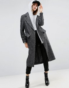 Read more about Asos coat in boyfriend fit and mono textured fabric - multi