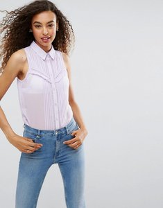 Read more about Asos sleeveless shirt with pintuck and lace detail - lilac