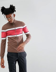 Read more about Asos knitted muscle fit track jacket in brown - brown