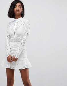 Read more about Lioness high neck cutwork lace mini skater dress - white