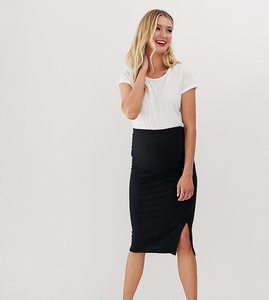 Read more about New look maternity ribbed side split skirt in black