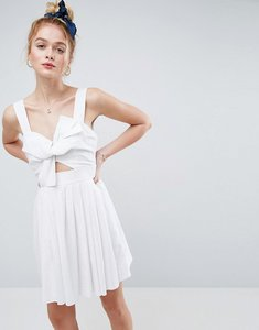 Read more about Asos bow detail cut out skater dress in linen - white