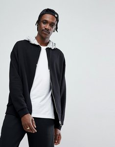 Read more about Asos oversized jersey bomber jacket with contrast hood - black