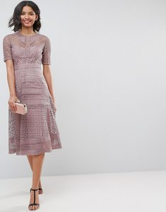 Read more about Asos design premium occasion lace midi dress - mink