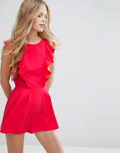 Read more about Miss selfridge ruffle front playsuit - red