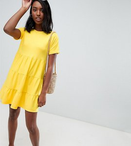 Read more about Asos design tall cotton smock dress with panels - yellow