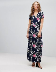 Read more about Pieces emi floral print maxi wrap dress - navy