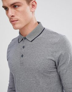 Read more about Esprit long sleeve polo with stripped collar - 400