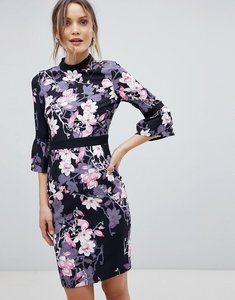 Read more about Paper dolls floral flute sleeve dress - black multi