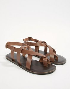 Read more about Asos design sandals in tan leather - tan