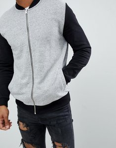 Read more about Asos design jersey bomber jacket in grey nep with contrast sleeves - grey black