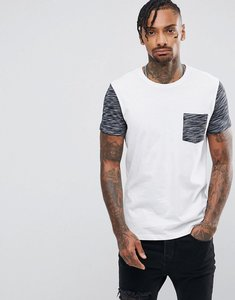 Read more about Asos t-shirt with contrast inject fabric pocket and sleeve in white - white