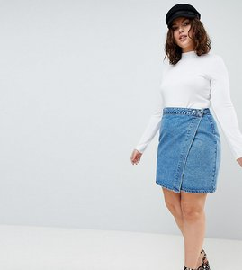 Read more about Asos design curve denim wrap skirt in stonewash blue - blue