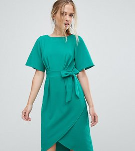 Read more about Closet london tie front dress with kimono sleeve - green
