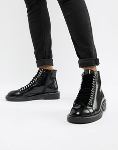 Read more about Asos design amellie leather lace up chain ankle boots - black leather