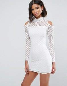 Read more about Ax paris cold shoulder all over lace dress - cream