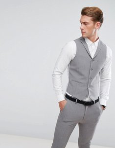 Read more about Asos super skinny suit waistcoat in mid grey - grey