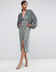 Read more about Asos red carpet heavily embellished long sleeve twist front midi dress - metallic grey