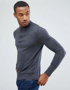 Read more about Jack jones premium knitted polo - dark grey melange