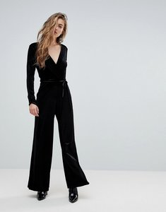 Read more about Miss selfridge v neck plunge velvet jumpsuit - black