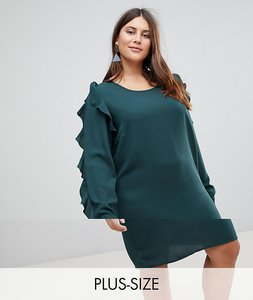 Read more about Junarose frill sleeve shift dress - green
