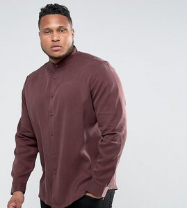 Read more about Asos plus regular fit tencel shirt with grandad collar in burgundy - burgundy