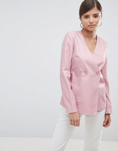 Read more about Fashion union relaxed blazer in fine stripe - pink stripe